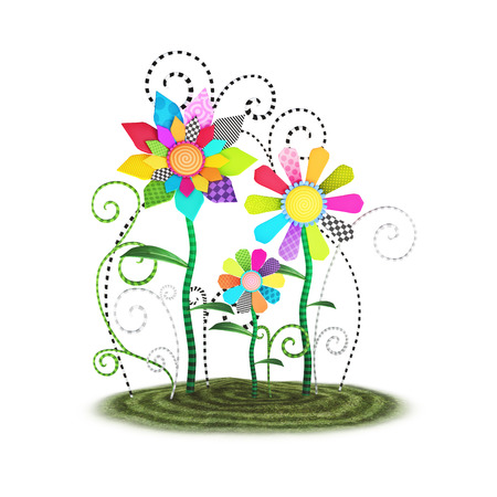 toon: Cute toon whimsical flowers background illustration isolated on a white background.