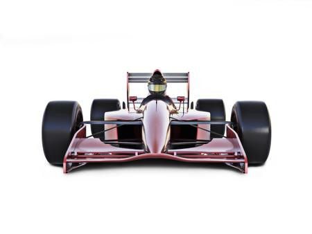 Beyaz zemin üzerine izole Yarış arabası önden görünümü.