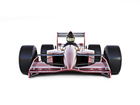car race: Race car front view on a white isolated background.