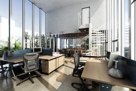 muebles de oficina: Interior abierto amueblado oficina moderna, con techos y ventanas grandes. Foto realista representación 3d Foto de archivo