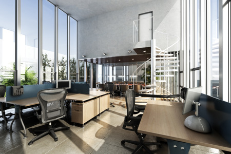 office desktop: Open interior furnished modern office with large ceilings and windows . Photo realistic 3d rendering