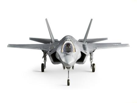 F35 aerei d'attacco vista frontale isolato su uno sfondo bianco. Archivio Fotografico - 40862969