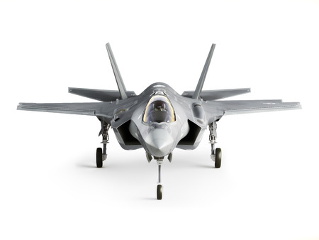supersonic transport: F35 strike aircraft front view isolated on a white background. Stock Photo