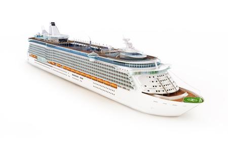 blancos: Barco de cruceros en un fondo blanco aislado. Foto de archivo