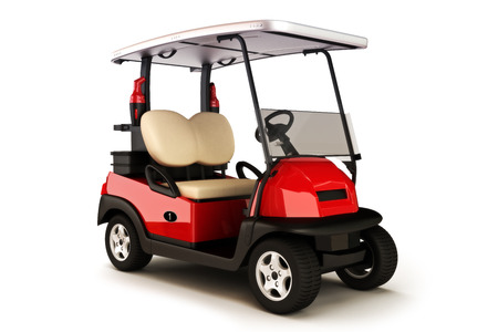 Red colored golf cart on a white isolated background Foto de archivo