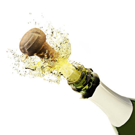 白い背景の上に飛び出るシャンパン ボトル