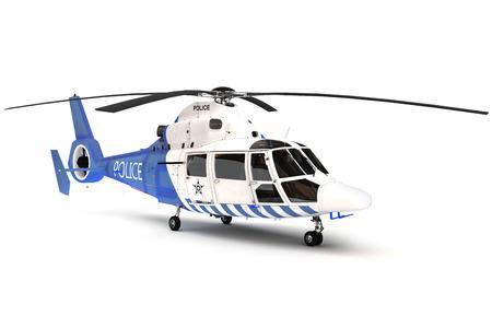 孤立した白地に警察ヘリコプター 写真素材