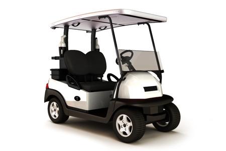 De couleur blanche voiturette de golf sur un fond blanc isolé. Banque d'images - 40862976