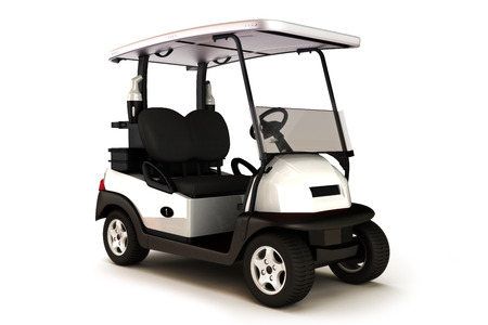golf cart: White colored golf cart on a white isolated background.