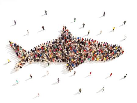 Menschen, die Hai-Woche gefallen. Große Gruppe von Menschen in der Form von einem Hai auf weißem Hintergrund.