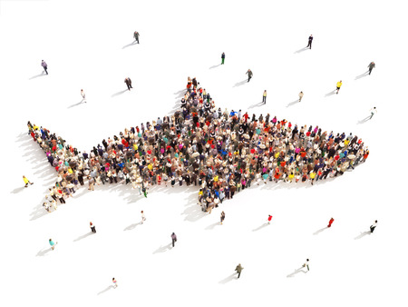 people group: People that like shark week. Large group of people in the shape of a shark on a white background.