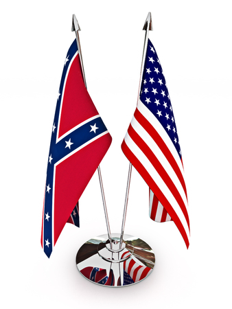 controversy: Confederate and American flags isolated on a white background.