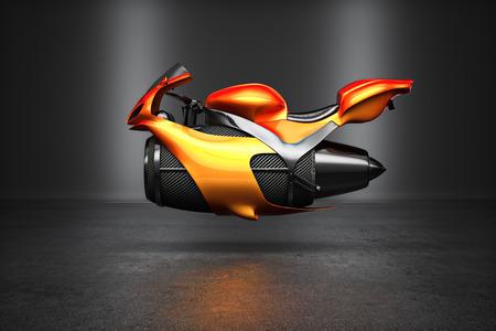 カスタム オレンジ未来タービン ジェット バイク コンセプト スタジオ撮影表示。