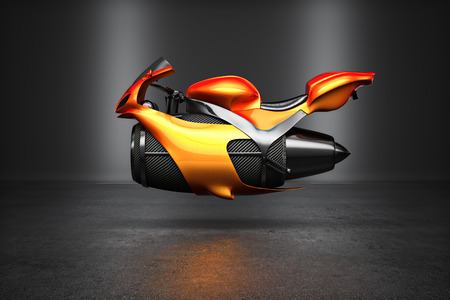 exhaust pipe: Custom orange futuristic turbine jet bike concept studio shot on display.