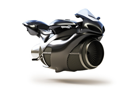 bike: Black futuristic turbine jet bike concept isolated on a white background. Stock Photo