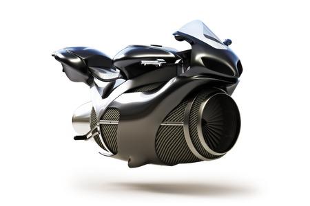 futuristic man: Black futuristic turbine jet bike concept isolated on a white background. Stock Photo