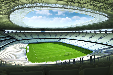 Empty Soccer stadium with open ceiling. Photo realistic 3d illustration.