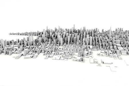 render: Architectural 3D model illustration of a large city on a white background.