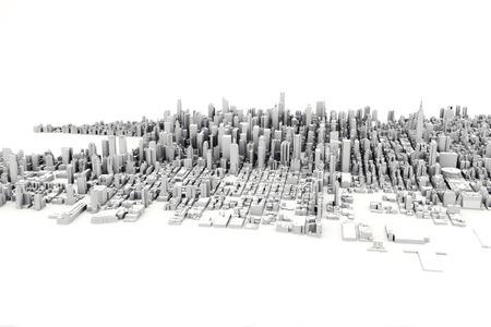 Architektonische 3D-Modell-Darstellung einer großen Stadt auf einem weißen Hintergrund.