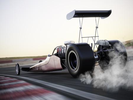 Dragster race naar beneden het spoor met burnout. Fotorealistische 3D-model scène met ruimte voor tekst of kopiëren ruimte.