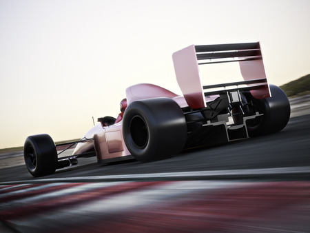 Race car back view speeding down a track with motion blur. Photo realistic 3d scene with room for text or copy space