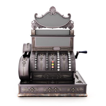 restored: Front view of an Antique retro cash register isolated on a white background. Stock Photo