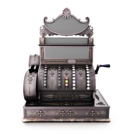 maquina registradora: Vista frontal de una antigua caja registradora retro aislado en un fondo blanco. Foto de archivo