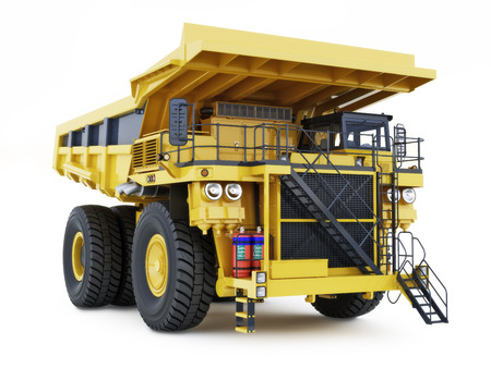 construction machinery: Large industrial construction dump truck on an isolated white background. Stock Photo