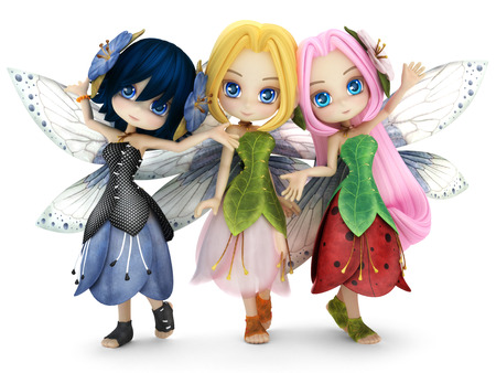 dresses: Cute toon fairy friends posing together on a white isolated background. Part of a little fairy series. Stock Photo