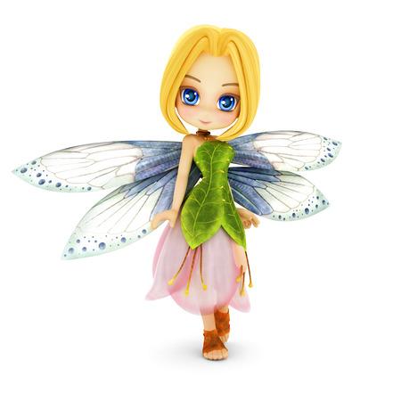 roztomilý: Cute Toon víla s křídly s úsměvem na bílém pozadí izolované. Část malá víla série.