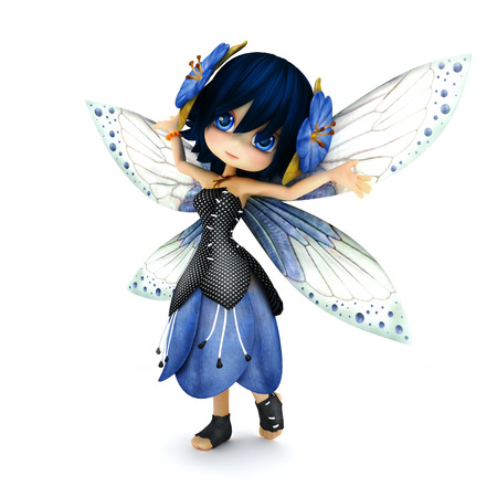 그녀의 머리에 꽃 격리 된 흰색 배경에 포즈 푸른 꽃 드레스를 입고 귀여운 툰 요정. 작은 요정 시리즈의 일부입니다