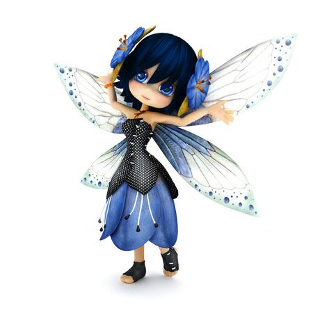 menina: Fadas toon bonito que desgasta o vestido azul da flor com flores no cabelo que levanta em um fundo branco isolado. Parte de uma série de fadas pouco