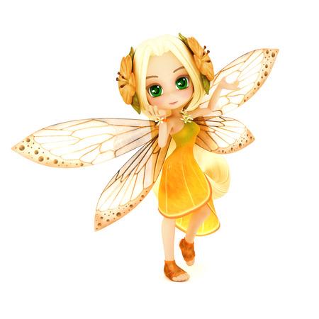 그녀의 머리에 꽃 흰색 격리 된 배경에 포즈 오렌지 꽃 드레스를 입고 귀여운 툰 요정. 작은 요정 시리즈의 일부입니다