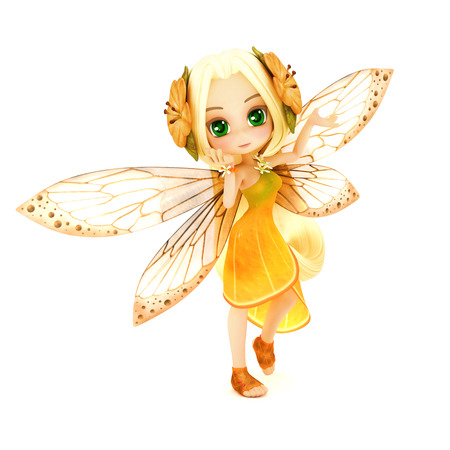 Cute toon fairy wearing orange flower dress with flowers in her hair posing on a white isolated background. Part of a little fairy series Stock Photo