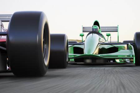 Motor sports race car competitive close quarters racing on a track with motion blur Stockfoto