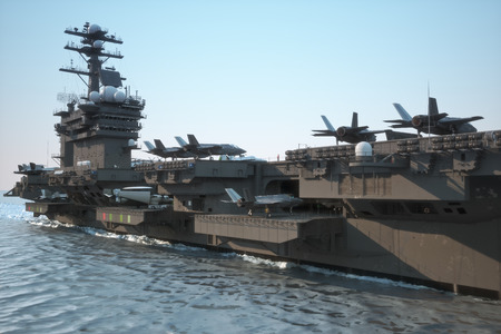 fleet: Navy aircraft carrier angled view, with a large compartment of aircraft and crew. Stock Photo