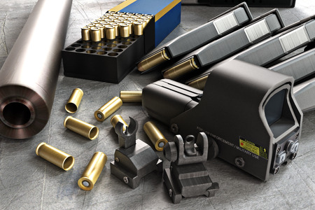 Accessoires de fusil d'assaut collection composée de tours de balles, canon, des magazines, des sites avant et arrière, et un laser guidé portée de fusil. Banque d'images - 43824464