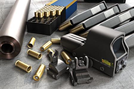 Colección de accesorios Rifle de asalto que consiste en rondas de bala, cañón de la pistola, revistas, frontal y sitios traseros, y un alcance del rifle láser guiada.