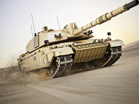 Military armored tank moving at a high rate of speed with motion blur over sand. Generic photo realistic 3d model scene.