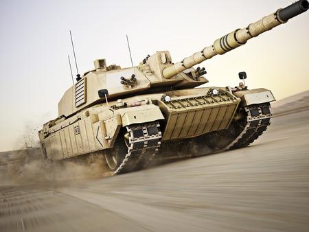 tanque de guerra: Tanque militar armado se mueve a una gran velocidad con el desenfoque de movimiento sobre la arena. Photo Gen�rico realista escena modelo 3d. Foto de archivo