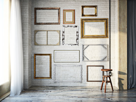 Abstract interior of assorted classic empty picture frames against a white brick wall with rustic hardwood floors. Photo realistic 3d model scene.