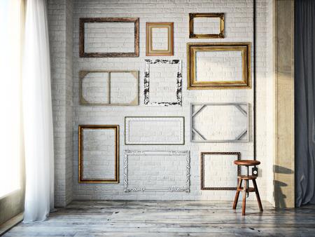 Zusammenfassung Innenraum der sortierten klassischen leere Bilderrahmen gegen eine weiße Wand mit rustikalen Holzböden. Fotorealistische 3D-Modell-Szene. Lizenzfreie Bilder