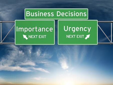 Business Entscheidungsfindung Schwerpunkt auf Entscheidungen der Wichtigkeit oder Dringlichkeit.