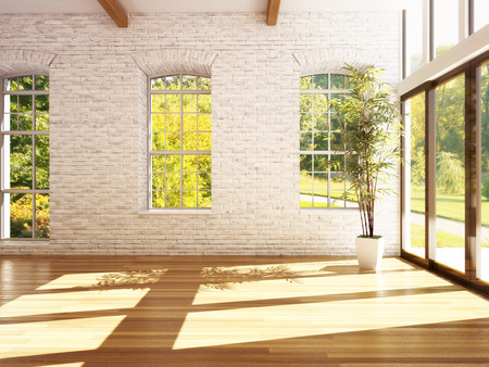 Empty room of business, or residence with hardwood floors, stone walls and woods background. Photo realistic 3d rendering.