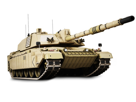 turret: Military armored tank isolated on a white background. Stock Photo