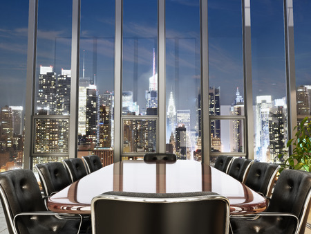 Business office conference room with table and leather chairs overlooking a city at dusk. Photo realistic 3d model scene.