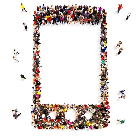 People who use wireless communication. Large group of people in the shape of a cell phone icon symbol with room for text or copy space, cell phone advertisement concept isolated on a white background. Archivio Fotografico