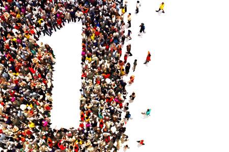 Pessoas que são os vencedores, líderes, ou conceito do sucesso. Pessoas na forma do número um em um fundo branco.