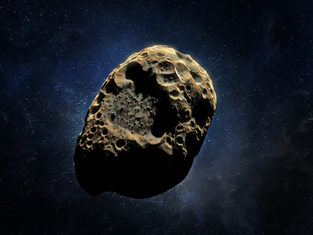 cataclysm: 3D rendering of an asteroid