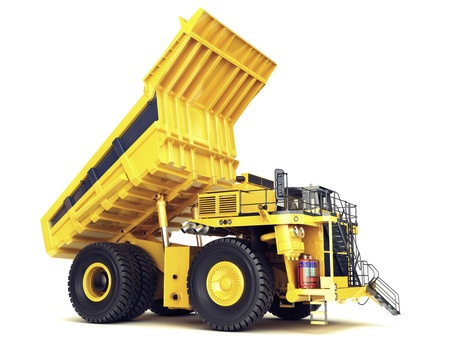large: Large industrial mining dump truck on an isolated white background.